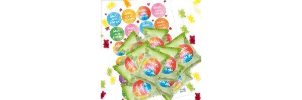 Gummibärchen Tütchen mit Aufklebern