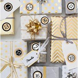 Adventskalender Zahlen auf Geschenkschachteln