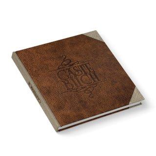 Gästebuch quadratisch in Lederoptik braun 21 x 21 cm im Vintage - Nostalgie - Look - Hochzeitsgästebuch