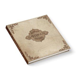 Vintage Gästebuch beige braun 21 x 21 cm mit leeren Seiten - Nostalgie Hochzeitsgästebuch