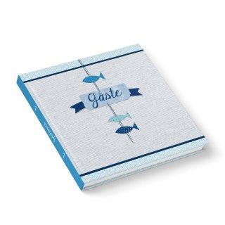 Gästebuch blau weiß im maritimen Stil 21 x 21 cm quadratisch für Taufe Kommunion Firmung