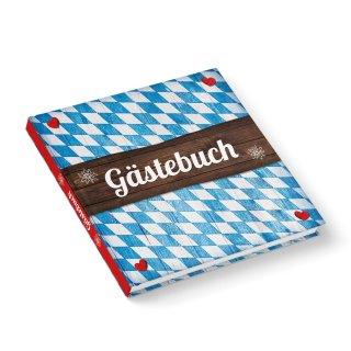 Leeres Gästebuch bayerisch mit Rautenmuster blau weiß 21 x 21 cm - Hochzeitsgästebuch Bayern