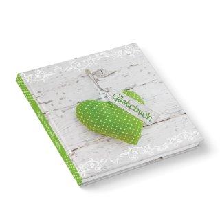 Gästebuch zum Eintragen mit leeren Seiten - Motiv grünes Herz 21 x 21 cm - Hochzeitsgästebuch