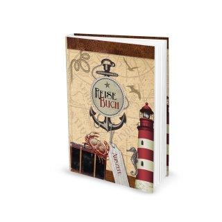 Kleines Reisetagebuch DIN A5 rot maritim mit Anker & Leuchtturm - Notizbuch mit leeren Seiten
