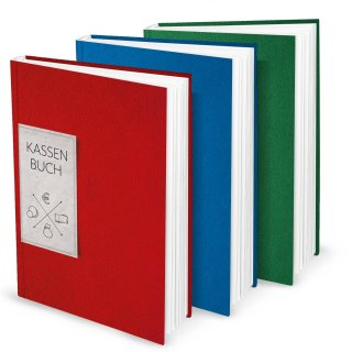 Kassenbücher SET 3 Finanzbücher DIN A4 blau rot grün - Übersicht Einnahmen Ausgaben für Kleinunternehmer Firmen Vereine