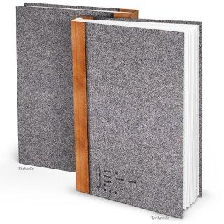 XXL Notizbuch bedruckt in Filz-Optik DIN A4 Hardcover mit leeren Seiten - Blankobuch Tagebuch
