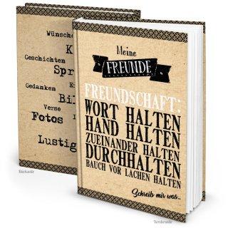 XXL Freundebuch DIN A4 beige schwarz Kraftpapier Poesiealbum Notizbuch - Meine Freunde