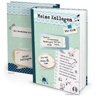 XXL Kollegenbuch DIN A4 zum Einschreiben - Abschiedsgeschenk für Kollegen - blau grün