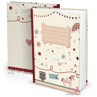 Leeres XXL A4 Babytagbuch rosa beige - Buch zum Selberschreiben für Mädchen - Erstes Jahr