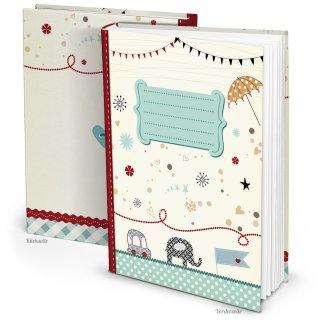 Babytagebuch DIN A4 blau beige rot - Blankobuch zum Selberschreiben