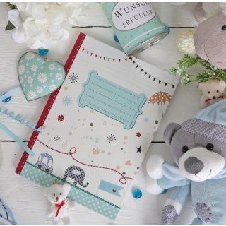 Leeres XXL A4 Babytagbuch blau beige rot - Buch zum Selberschreiben - Erstes Jahr Kinder