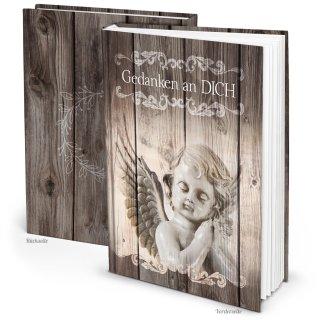 Trauerbuch Notizbuch DIN A5 GEDANKEN AN DICH mit Schutzengel-Motiv - leeres Buch Trauerbewältigung