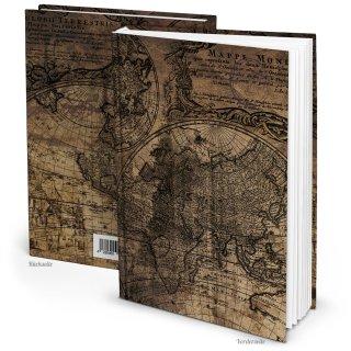 Kleines Notizbuch Reisebuch vintage braun DIN A5 ALTE WELT - Weltkugel-Motiv - leeres Buch
