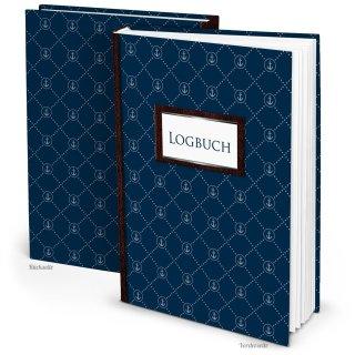 Großes DIN A4 Logbuch dunkelblau mit ANKER-Motiv - Schiffstagebuch zum Eintragen