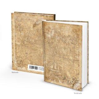 Kleines Notizbuch Tagebuch ALTE WELT hellbraun beige DIN A5 - Vintage Buch Globus Weltkarte-Motiv