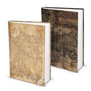 Vintage Notizbücher Set 2 Bücher DIN A5 mit Weltkarte Globus Motiv hellbraun + dunkelbraun