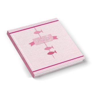 Gästebuch rosa pink mit Fische Motiv 21 x 21 cm - Buch zum Eintragen für Gäste zu Taufe Kommunion Mädchen