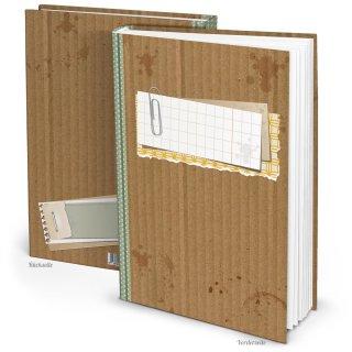 Großes Notizbuch DIN A4 braun grün im Vintage-Stil mit beschreibbarem Cover