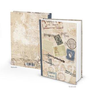 Kleines Vintage Notizbuch Tagebuch DIN A5 - beige braun im Retro Nostalgie Look mit leeren Seiten