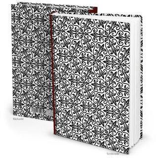 XXL Notizbuch DIN A4 Hardcover schwarz weiß mit orientalischem Muster - Buch zum Einschreiben