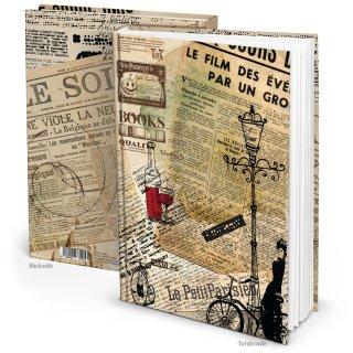 Vintage Notizbuch mit leeren Seiten DIN A4 nostalgisch mit Motiv PARIS - retro Buch blanko
