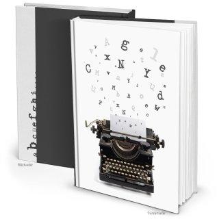 Leeres Notizbuch Blankobuch schwarz weiß Schreibmaschine-Motiv DIN A4 - Blanko Buch