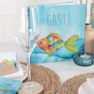 Buntes Gästebuch REGENBOGENFISCH 21 x 21 cm mit leeren Seiten - Buch zu Kindergeburtstag Taufe Kommunion
