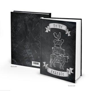 Großes Rezeptbuch DIN A4 mit leeren Seiten zum Selberschreiben - eigenes Kochbuch schwarz weiß