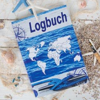 Logbuch Adventure blau weiß DIN A4 Hardcover - Schiffstagebuch nach amtlichen Vorschriften