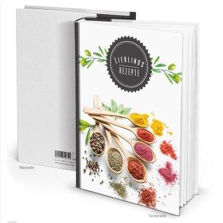 XXL Rezeptbuch mit leeren Seiten Hardcover DIN A4 LIEBLINGSREZEPTE mit Gewürzen bunt