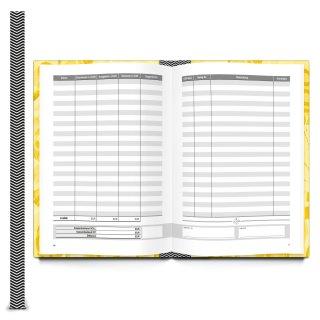 Ordnungsgemäßes Kassenbuch DIN A5 gelb Hardcover für Barzahlungen - Übersicht Finanzen + Einnahmen + Ausgaben