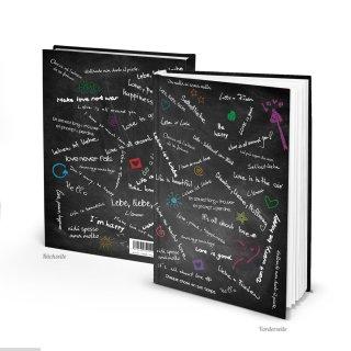 XXL Blankobuch Hardcover DIN A4 schwarz weiß mit bunten Sprüchen - leeres Buch
