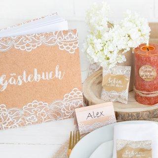 Hochzeitsgästebuch in Kraftpapieroptik bedruckt mit Spitze braun weiß Vintage-Stil 21 x 21 cm
