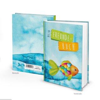 Freundebuch mit Regenbogenfisch blau bunt maritim DIN A5 - Hardcover Eintragbuch für Kinder