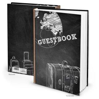 Gästebuch GUESTBOOK schwarz weiß DIN A4 Hardcover für internationale Gäste
