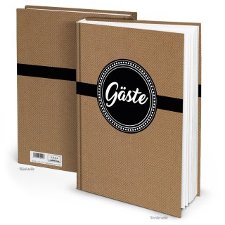 Gästebuch DIN A4 Hardcover braun schwarz weiß - leeres Buch für Hochzeit Ferienwohnung Feier