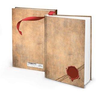 Großes Notizbuch mit leeren Seiten DIN A4 braun rot im Vintage-Stil - Hardcover Buch