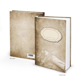 Großes Blankobuch Hardcover DIN A4 beige braun Vintage Nostalgie-Look mit leeren Seiten