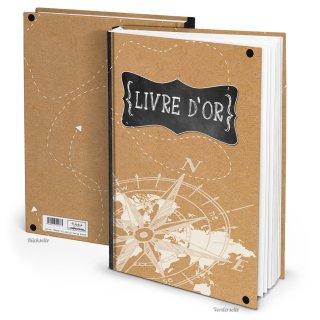 Gästebuch A4 mit französischem Titel Livre dor braun schwarz weiß - Buch für internationale Gäste