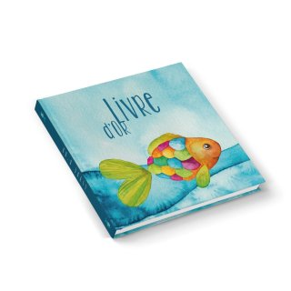 Gästebuch quadratisch mit französischem Titel LIVRE DOR - mit Regenbogenfisch türkis blau