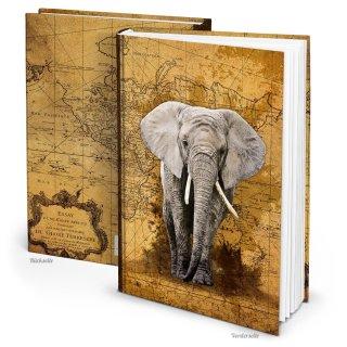 XXL Notizbuch DIN A4 Hardcover braun ELEFANT - Vintage Buch mit leeren Seiten