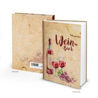 Weinbuch A5 rot beige zum Einschreiben - Notizbuch Ausfüllbuch als Geschenk für Weinliebhaber