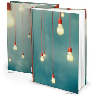 XXL Notizbuch Ideenbuch Skizzenbuch DIN A4 blau mit Glühbirnen - Hardcover