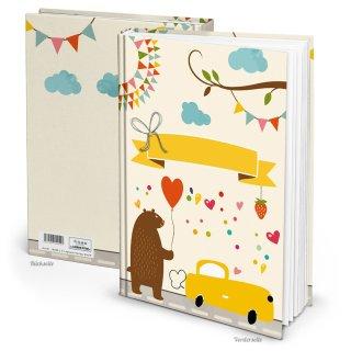 Großes leeres Babytagebuch DIN A4 - Notizbuch Babybuch gelb bunt zum Einschreiben - Motiv Teddybär