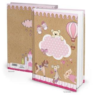 Kinderbuchtagebuch Babytagebuch DIN A4 zum Einschreiben rosa braun - Motiv Teddybär Pferd
