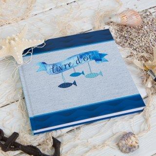 Gästebuch blau weiß mit französischem Titel LIVRE DOR im maritimen Stil 21 x 21 cm