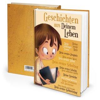 """Leeres Tagebuch DIN A4 Geschenk für Kinder """"Geschichten aus deinem Leben"""" - gelb beige"""