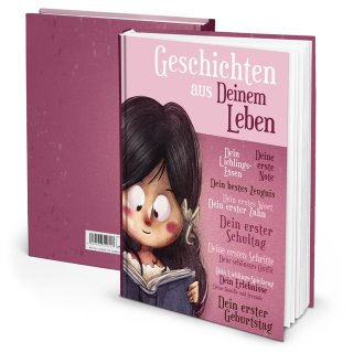 Leeres Tagebuch DIN A4 Geschenk für Kinder GESCHICHTEN AUS DEINEM LEBEN - lila rosa