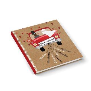 Hochzeitsgästebuch mit Brautpaar 21 x 21 cm Gästebuch braun rot weiß zur Hochzeit