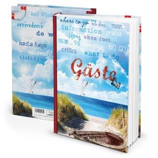 Gästebuch DIN A4 blau weiß maritim für Ferienwohnung Pension Ferienhaus Ostsee Nordsee